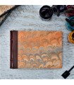 [Various Sizes] Orange Marbled Album with Leather Spine