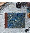 [Various Sizes] Marine Blue Marbled Album with Leather Spine
