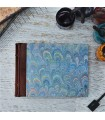 [Various Sizes] Light Blue Marbled Album with Leather Spine