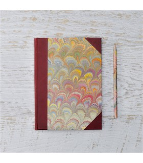 Beige Marble Address Book with Leather Spine