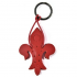 Red Fleur de Lys Leather Key Ring