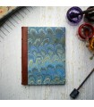 Marine Blue Marble Journal with Leather Spine