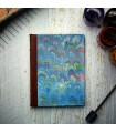 [Various Sizes] Light Blue Marble Journal with Leather Spine