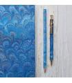 Royal Blue Marble Pen & Pencil