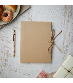 [Various Sizes] Beige Soft Leather Journal with Tie